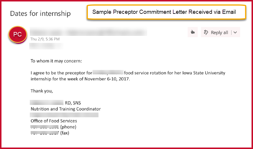 Sample preceptor commitment letter use original email as PDF